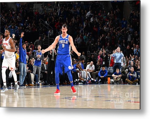 Description Metal Print featuring the photograph Philadelphia 76ers V New York Knicks by Jesse D. Garrabrant
