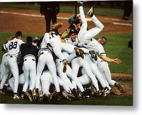American League Baseball Metal Print featuring the photograph New York Yankees by Ronald C. Modra/sports Imagery