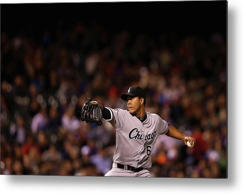 American League Baseball Metal Print featuring the photograph Chicago White Sox V Colorado Rockies by Doug Pensinger