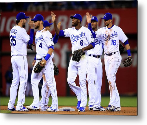 American League Baseball Metal Print featuring the photograph Minnesota Twins V Kansas City Royals by Jamie Squire