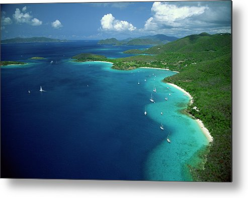 Sailboat Metal Print featuring the photograph Aerial View Of Shoreline by Don Hebert