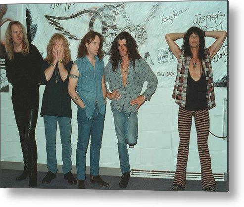 Tom Hamilton Metal Print featuring the photograph Aerosmith Backstage Portrait by Jim Steinfeldt