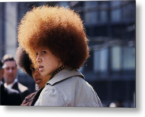 Black Civil Rights Metal Print featuring the photograph Afro Hairstyle In United States In by Herve Gloaguen
