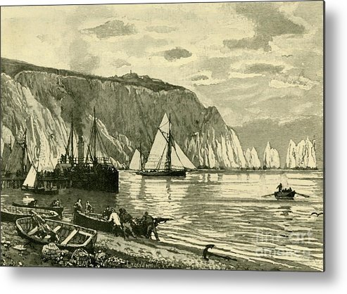 Scenics Metal Print featuring the drawing Alum Bay by Print Collector