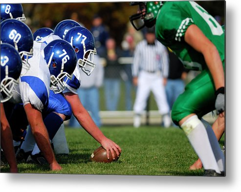 Sports Helmet Metal Print featuring the photograph American Football Line Of Scrimmage by Groveb
