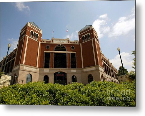 American League Baseball Metal Print featuring the photograph Ameriquest And Texas Rangers Strike by Ronald Martinez