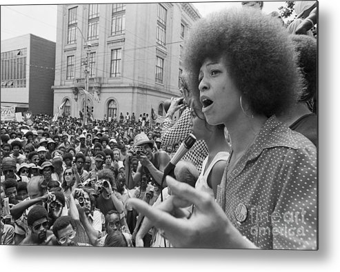 People Metal Print featuring the photograph Angela Davis Addressing Rally by Bettmann
