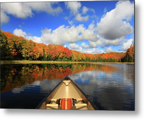 Scenics Metal Print featuring the photograph Autumn In A Canoe by Photos By Michael Crowley