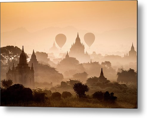 Scenics Metal Print featuring the photograph Bagan, Balloons Flying Over Ancient by Martin Puddy