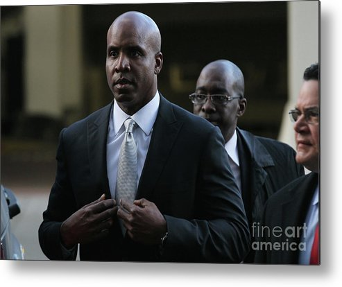 California Metal Print featuring the photograph Barry Bonds Perjury Trial Begins In San by Justin Sullivan