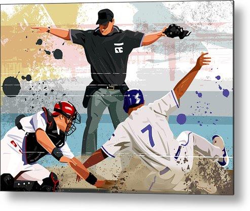 Helmet Metal Print featuring the digital art Baseball Player Safe At Home Plate by Greg Paprocki