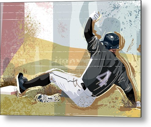 Sports Helmet Metal Print featuring the digital art Baseball Player Sliding Into Base by Greg Paprocki