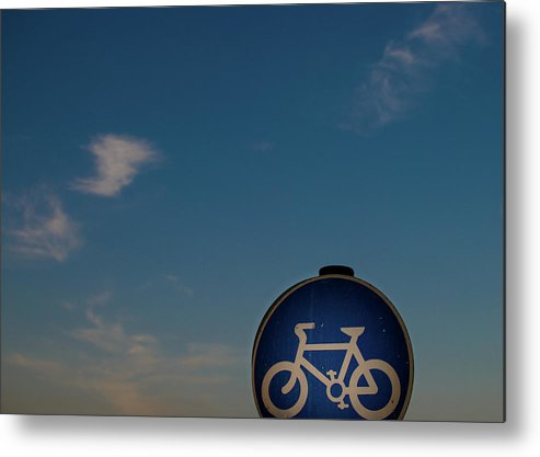 Outdoors Metal Print featuring the photograph Bicycle Sign With Sky by Photography By Stuart Mackenzie (disco~stu)