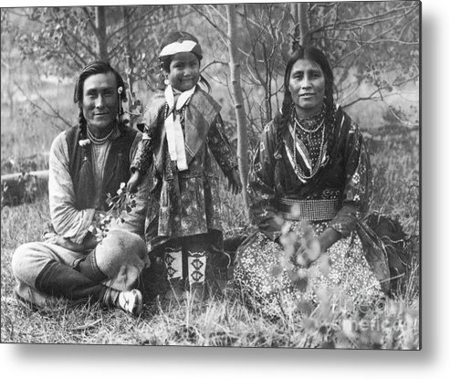 1907 Metal Print featuring the photograph Blackfoot Family, 1907 by Mary TS Schaffer