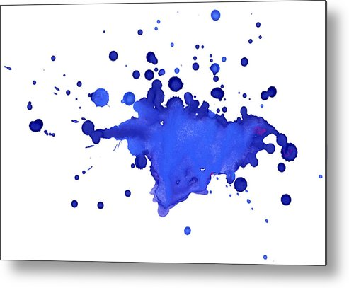 Art Metal Print featuring the photograph Blue Blobs On The Paper by Alenchi