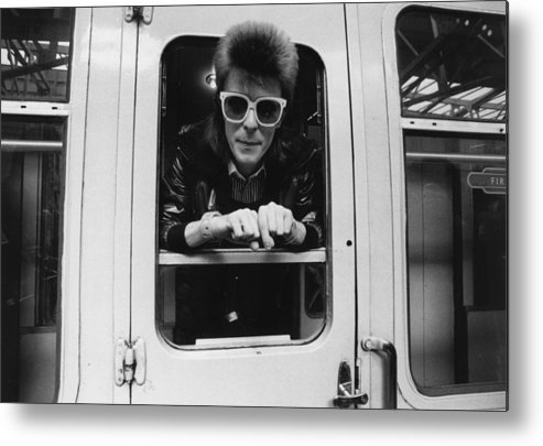 David Bowie Metal Print featuring the photograph Bowie On The Rails by Smith