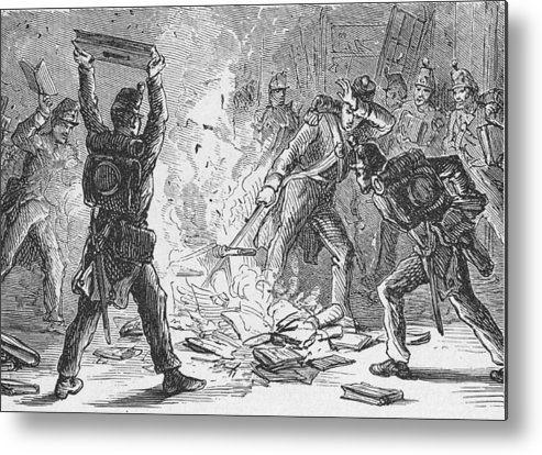 War Metal Print featuring the photograph British Soldiers Burning Books In by Kean Collection