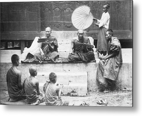 Education Metal Print featuring the photograph Buddhist Monks Teaching Law From Palm by Bettmann