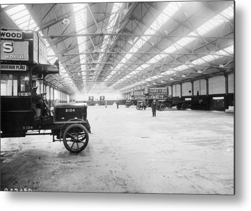 Engine Metal Print featuring the photograph Bus Garage by Hulton Archive