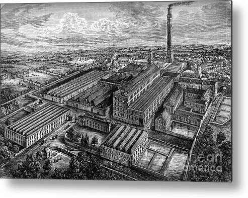 Working Metal Print featuring the drawing Camperdown Linen Works, Dundee, C1880 by Print Collector