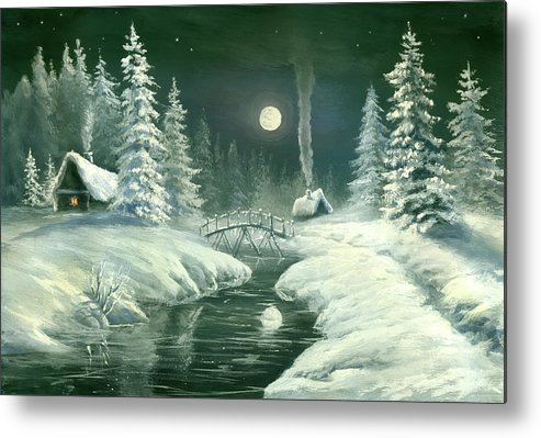 Art Metal Print featuring the digital art Christmas Night In The Country by Pobytov