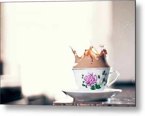 Motion Metal Print featuring the photograph Coffee Splash In Kitchen by Photographs By Vitaliy Piltser