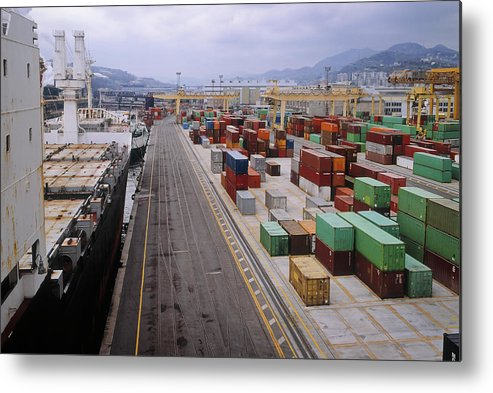 Freight Transportation Metal Print featuring the photograph Container Shipping, Port Of Genoa, Italy by Alberto Incrocci