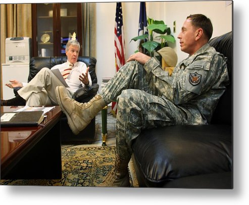 Office Metal Print featuring the photograph Crocker And Petraeus Prepare For Report by John Moore