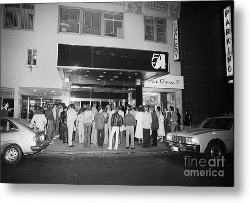 Crowd Of People Metal Print featuring the photograph Crowd Standing In Front Of Studio 54 by Bettmann