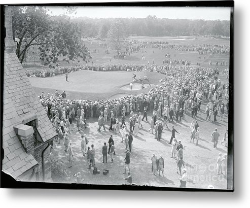 Crowd Of People Metal Print featuring the photograph Crowd Watching Bobby Jones During Golf by Bettmann