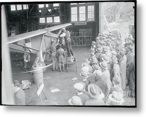 Crowd Of People Metal Print featuring the photograph Crowds Watching The Preparation by Bettmann