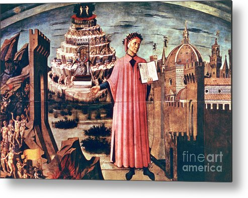 Poetry Metal Print featuring the drawing Dante And His Poem The Divine Comedy by Print Collector