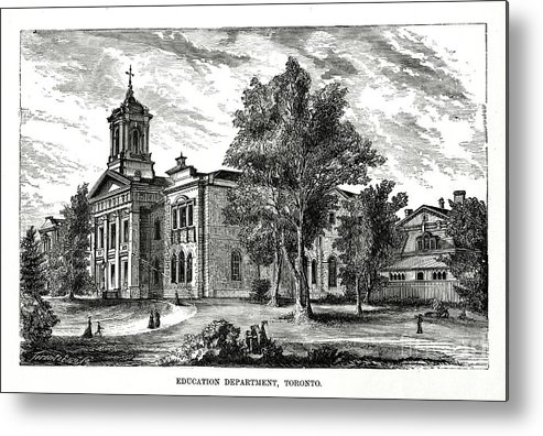 Engraving Metal Print featuring the drawing Education Department, Toronto, Ontario by Print Collector