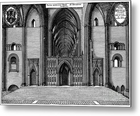 Engraving Metal Print featuring the drawing Entrance To The Choir Of Old St Pauls by Print Collector