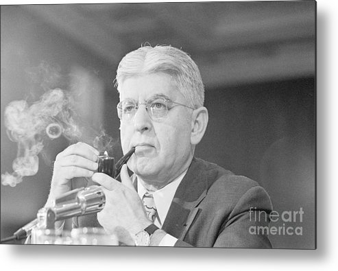 Central Bank Metal Print featuring the photograph Federal Reserve Board Chair Arthur by Bettmann