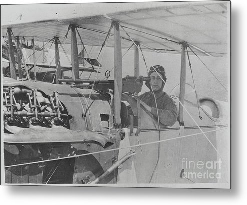 People Metal Print featuring the photograph Flyer In Aircraft Cockpit by Bettmann