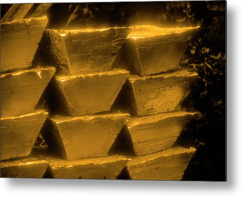 1980-1989 Metal Print featuring the photograph Gold Bullion Bars by Lyle Leduc