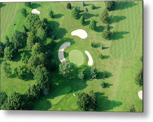 Sand Trap Metal Print featuring the photograph Golf Course Close Up From The Air by Groveb