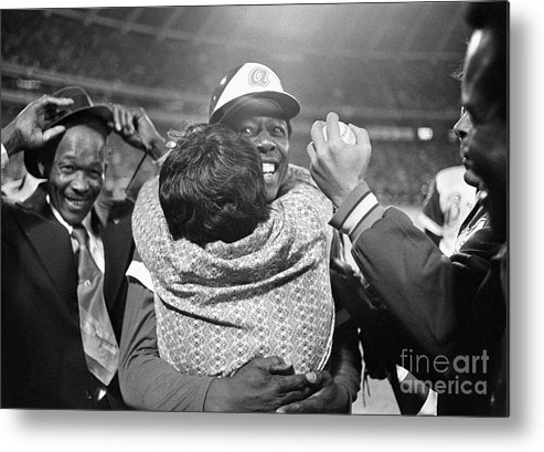 Atlanta Metal Print featuring the photograph Hank Aaron Hugging His Mother by Bettmann