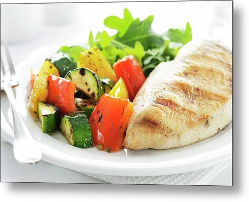 Chicken Meat Metal Print featuring the photograph Healthy Meal by Easybuy4u