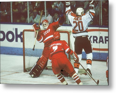 Event Metal Print featuring the photograph Hockey Fun At Rendezvous 87 by B Bennett