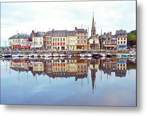 Tranquility Metal Print featuring the photograph Houses Reflection In River, Honfleur by Ana Souza