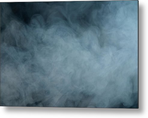 Air Pollution Metal Print featuring the photograph Huge White Cloud Of Smoke In A Dark Room by Lastsax