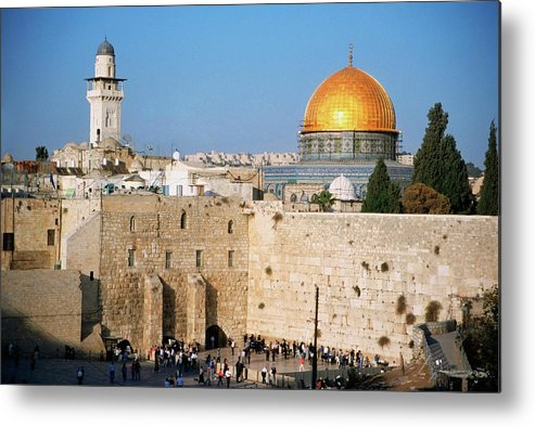 Dome Of The Rock Metal Print featuring the photograph Israel, Jerusalem, Western Wall And The by Medioimages/photodisc