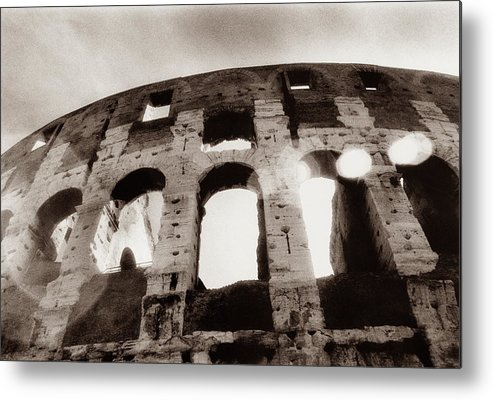 Roman Metal Print featuring the photograph Italy, Rome, The Colosseum, Low Angle by Carolyn Bross