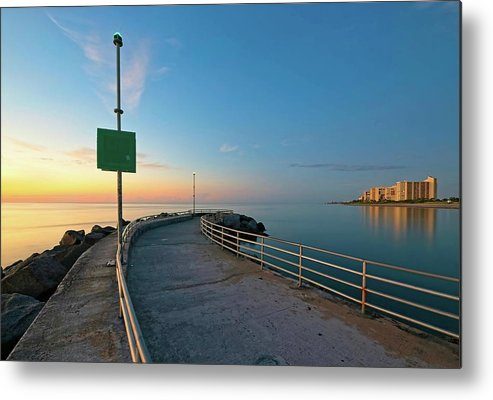 Nature Metal Print featuring the photograph Jupiter Inlet Jetty Looking South by Steve DaPonte