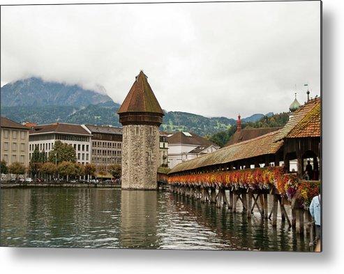 Scenics Metal Print featuring the photograph Kapellbrucke On Reuss River, Lucerne by Cultura Rf/rosanna U