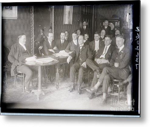 Employment And Labor Metal Print featuring the photograph Leaders At Steel Strike Meeting by Bettmann