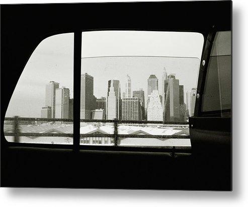 Car Interior Metal Print featuring the photograph Manhattan Through Car Window by Matt Carr