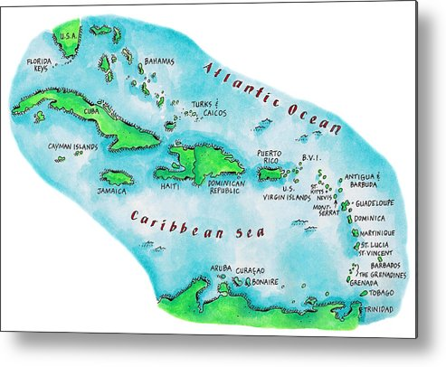 Watercolor Painting Metal Print featuring the digital art Map Of Caribbean Islands by Jennifer Thermes